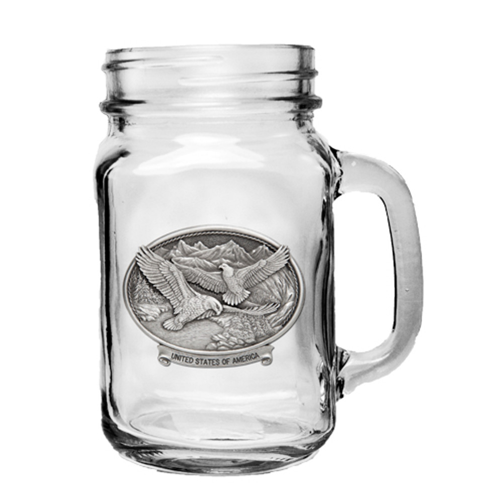 Bald Eagle Mason Jar Set of 2 | Heritage Pewter | HPIMJM109USA