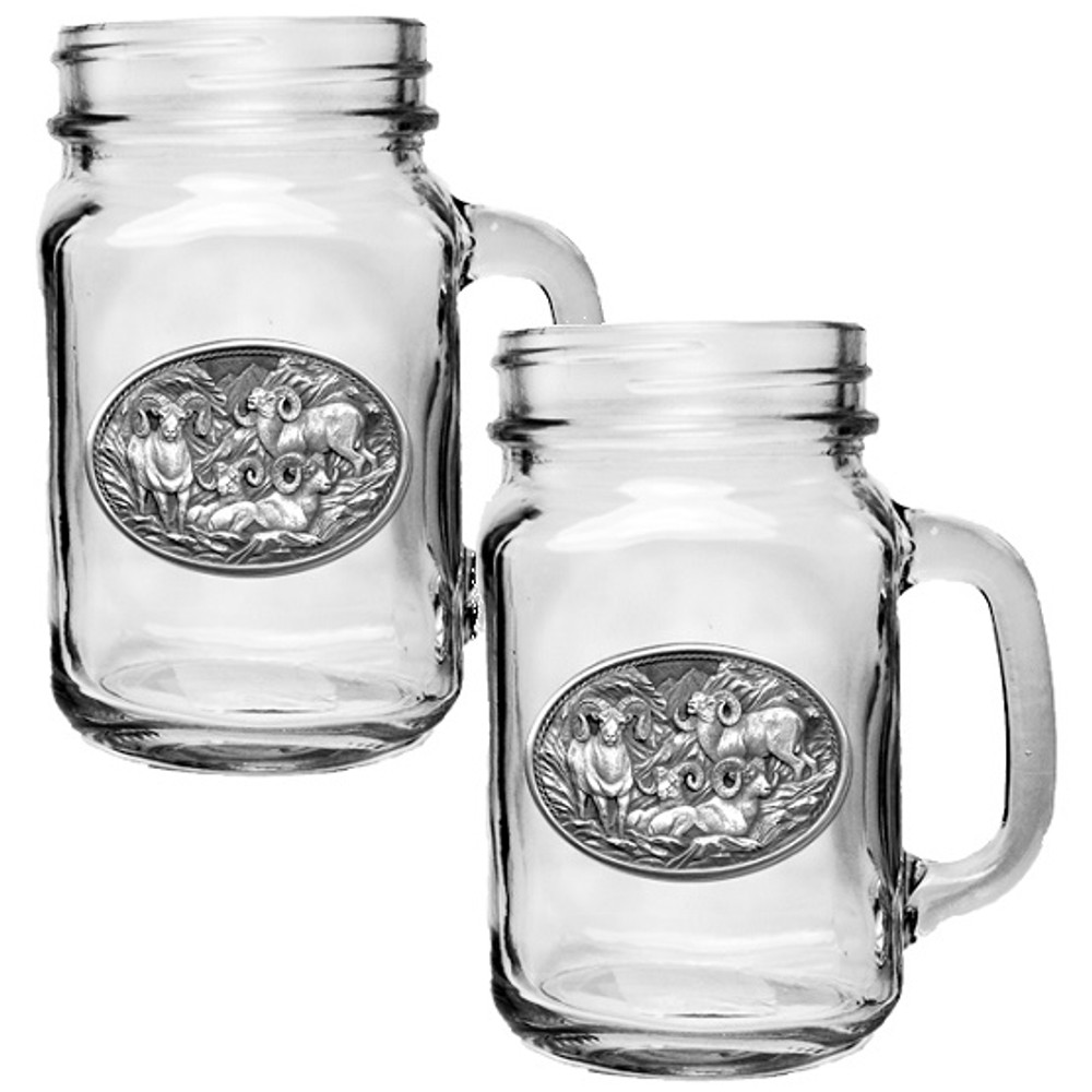 Bighorn Sheep Mason Jar Mug Set of 2 | Heritage Pewter | HPIMJM115