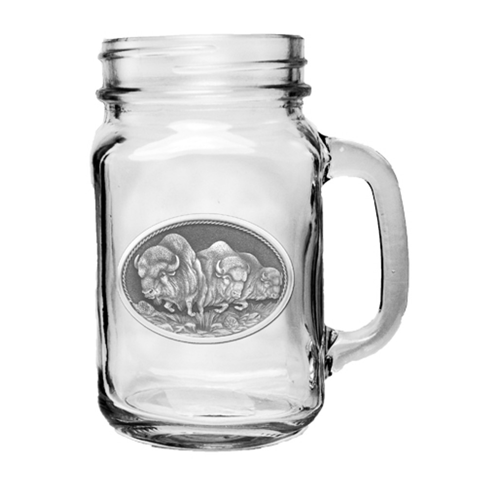 Buffalo Mason Jar Set of 2 | Heritage Pewter | HPIMJM101