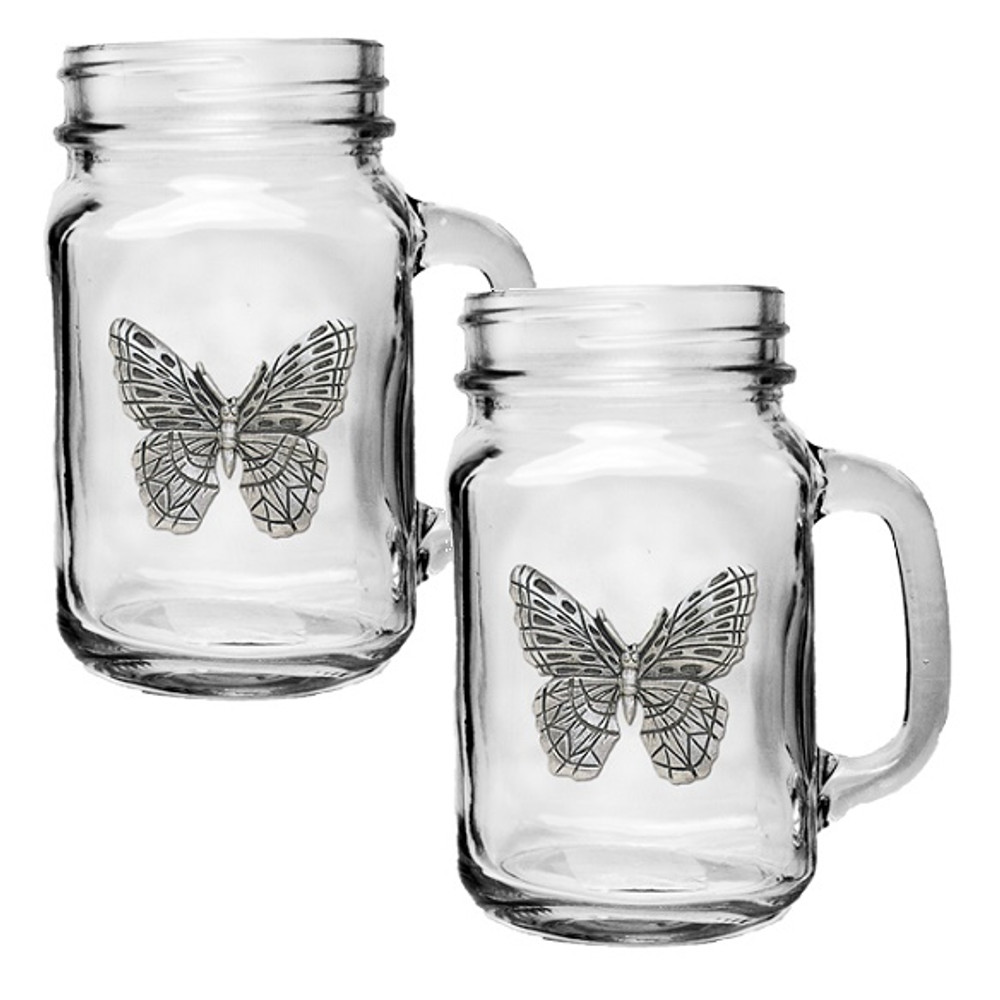 Butterfly Mason Jar Mug Set of 2   Heritage Pewter   HPIMJM4053