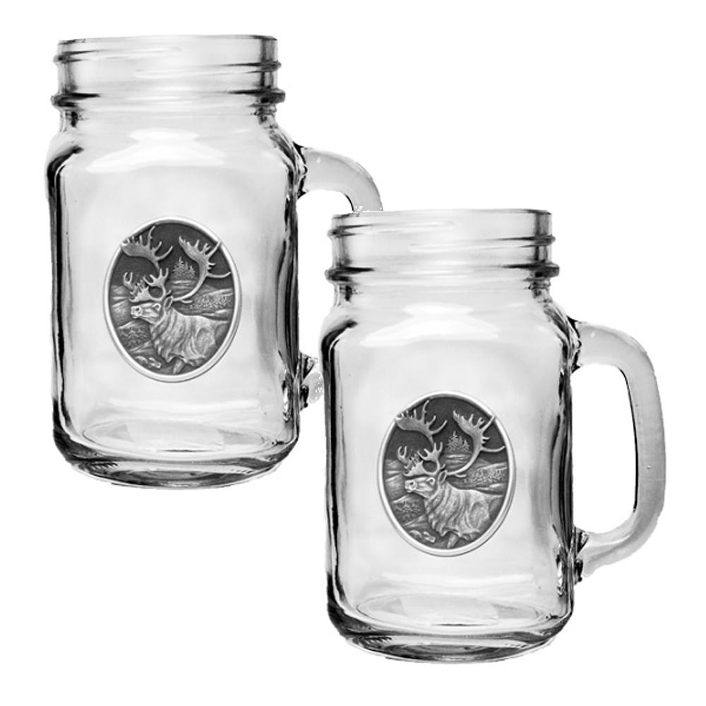 Caribou Mason Jar Mug Set of 2 | Heritage Pewter | HPIMJM211