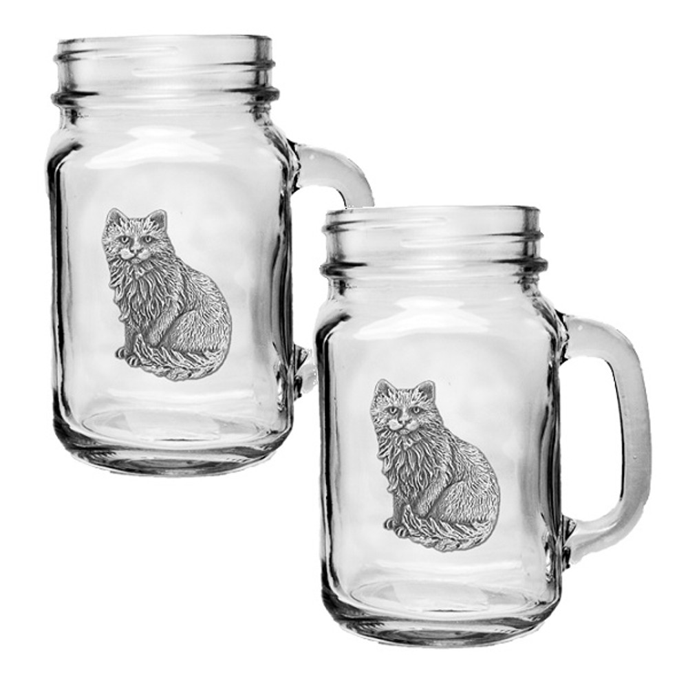Cat Mason Jar Mug Set of 2 | Heritage Pewter | HPIMJM3830