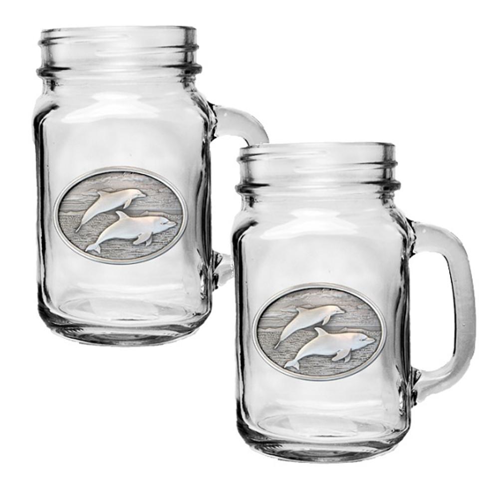 Dolphin Mason Jar Mug Set of 2   Heritage Pewter   HPIMJM135