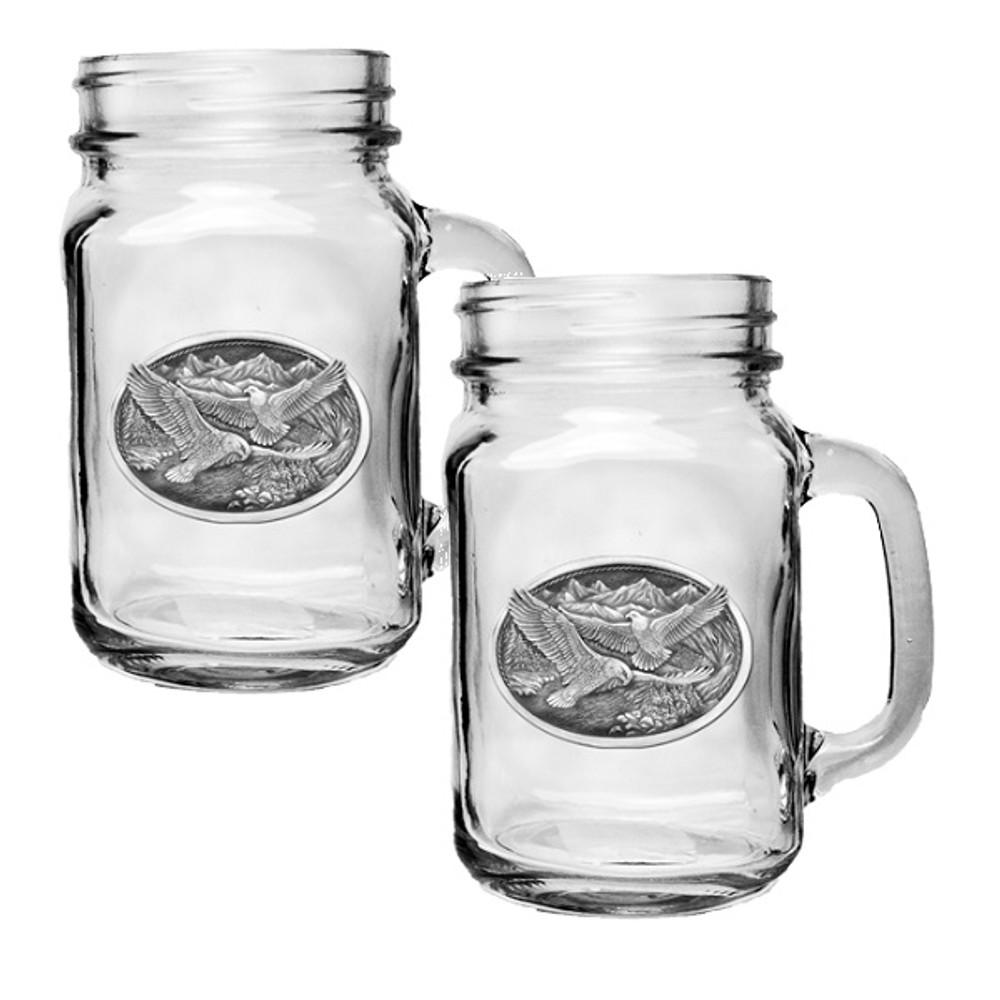 Eagle Mason Jar Mug Set of 2   Heritage Pewter   HPIMJM109