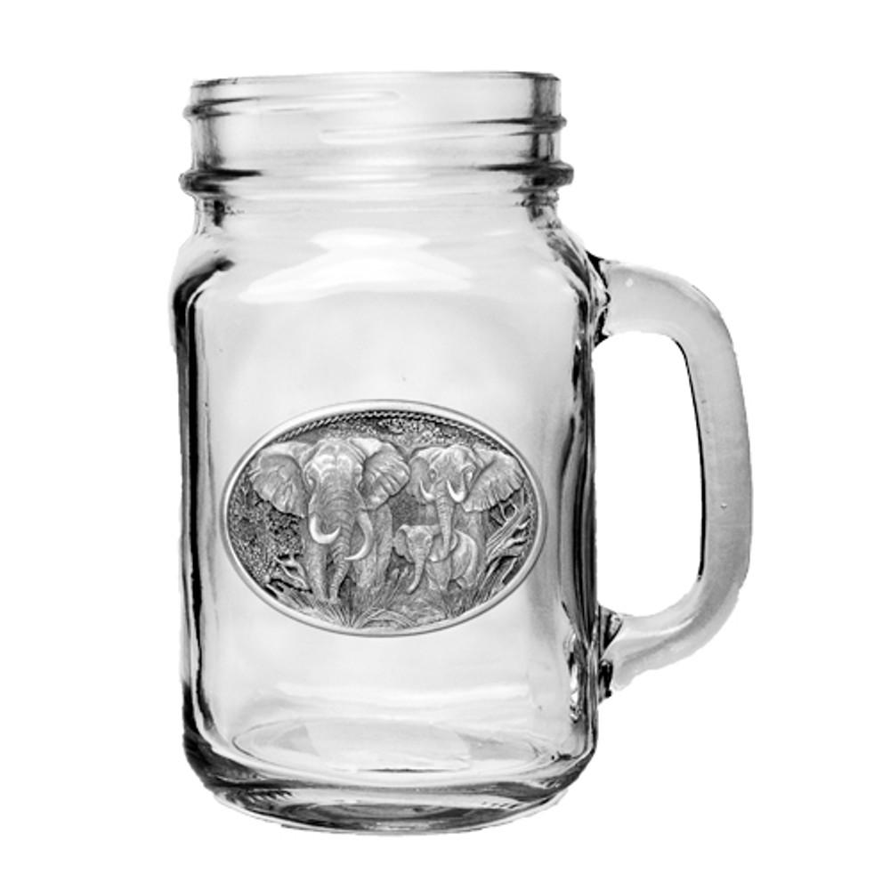 Elephant Mason Jar Set of 2   Heritage Pewter   HPIMJM120