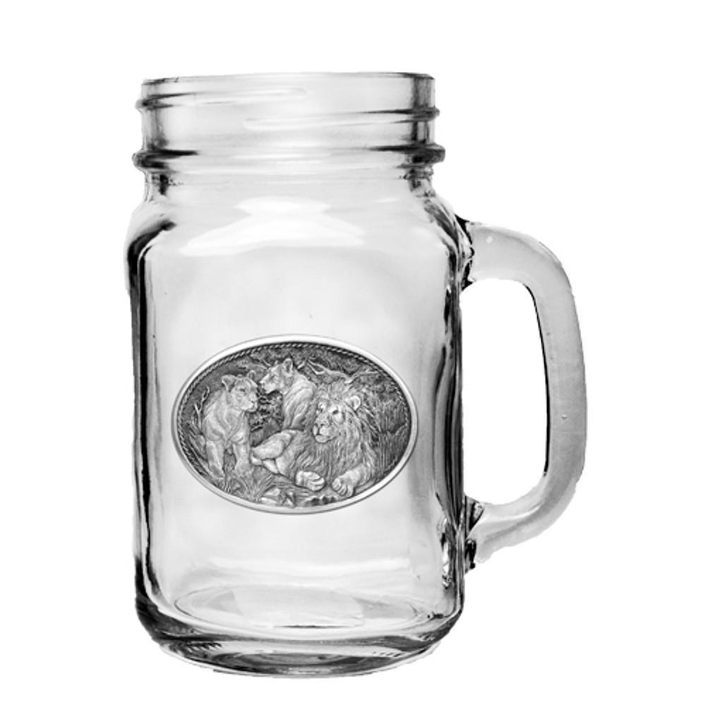 Lion Mason Jar Set of 2   Heritage Pewter   HPIMJM119