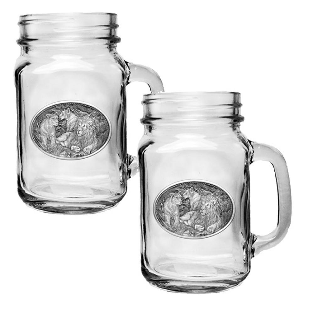 Lion Mason Jar Mug Set of 2   Heritage Pewter   HPIMJM119