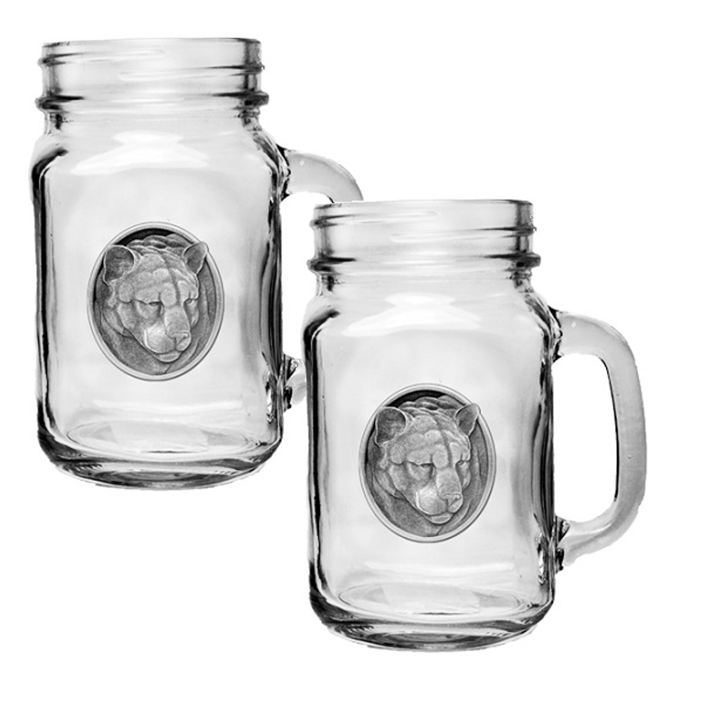 Mountain Lion Mason Jar Mug Set of 2 | Heritage Pewter | HPIMJM208