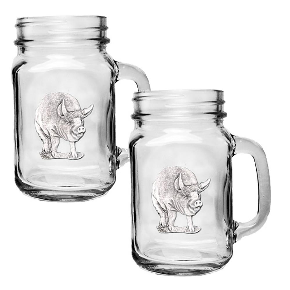 Pig Mason Jar Mug Set of 2   Heritage Pewter   HPIMJM3780