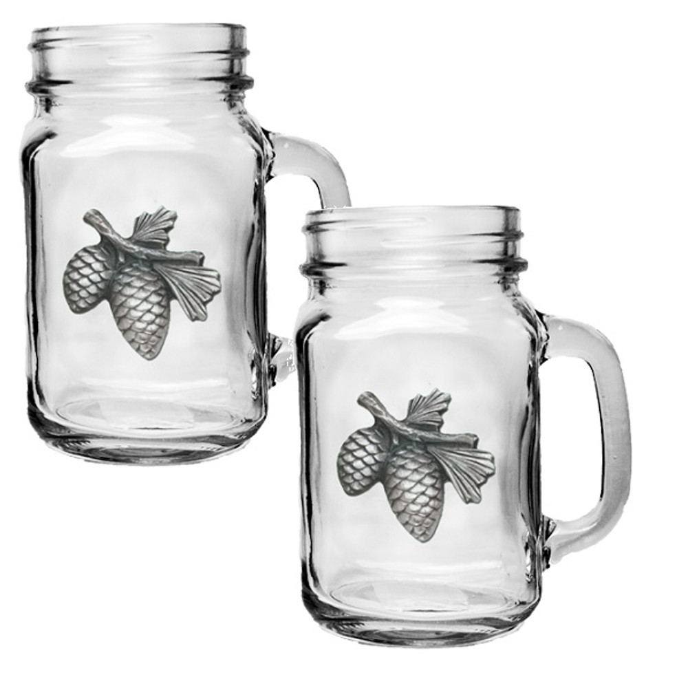 Pinecone Mason Jar Mug Set of 2 | Heritage Pewter | HPIMJM3022