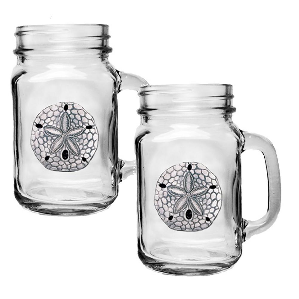 Sand Dollar Mason Jar Mug Set of 2   Heritage Pewter   HPIMJM3300