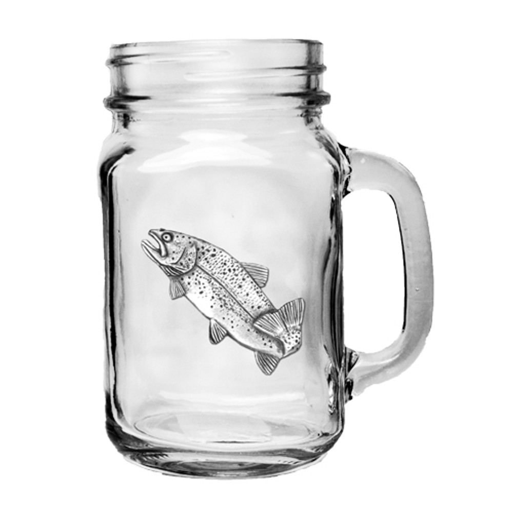 Trout Fish Mason Jar Mug Set of 2 | Heritage Pewter | HPIMJM4034