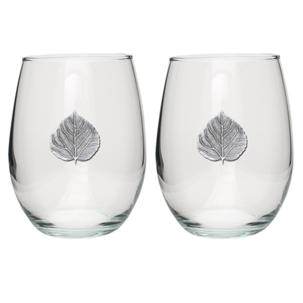 Aspen Leaf Stemless Goblet Set of 2 | Heritage Pewter | HPISGB3055