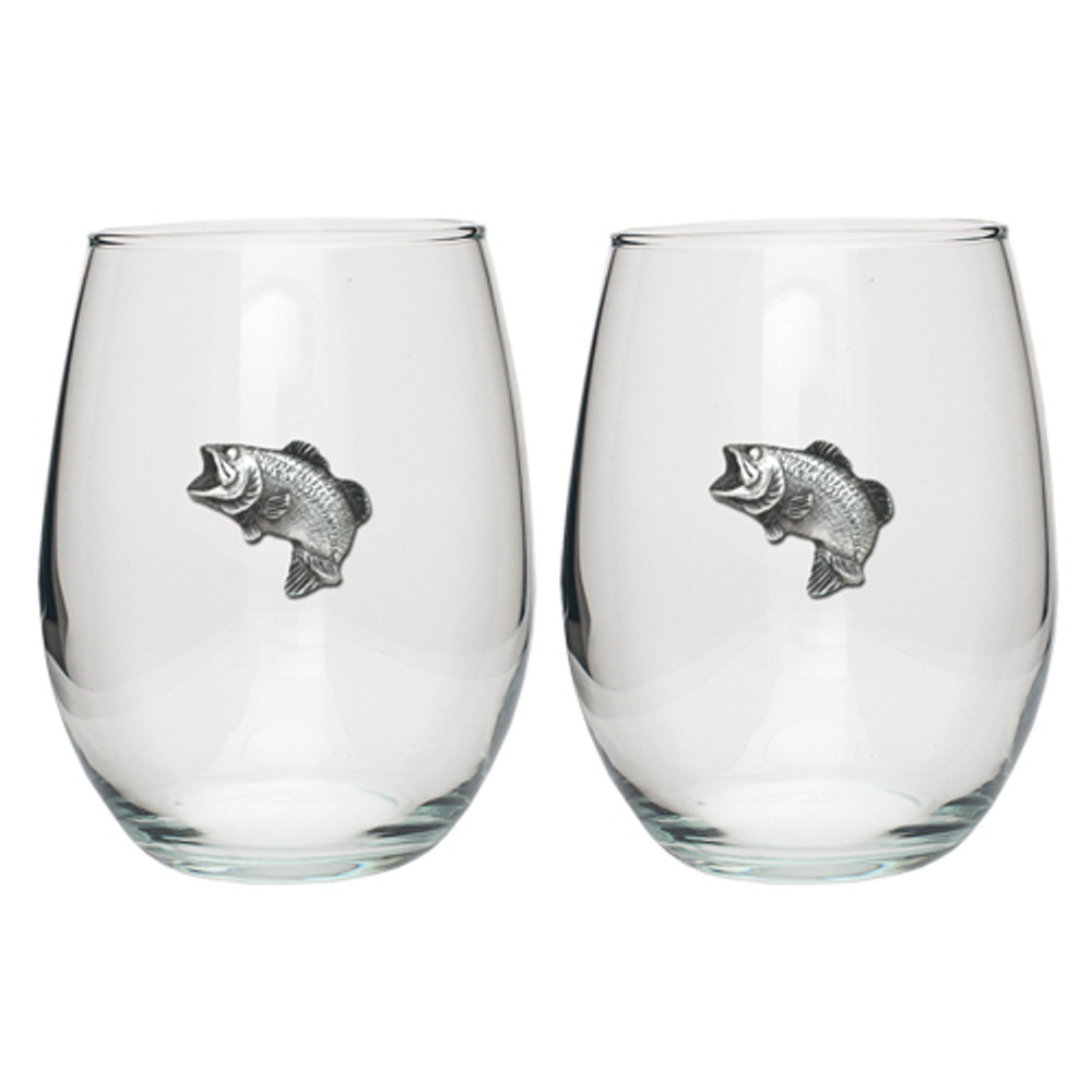 Bass Fish Stemless Goblet Set of 2 | Heritage Pewter | HPISGB3032