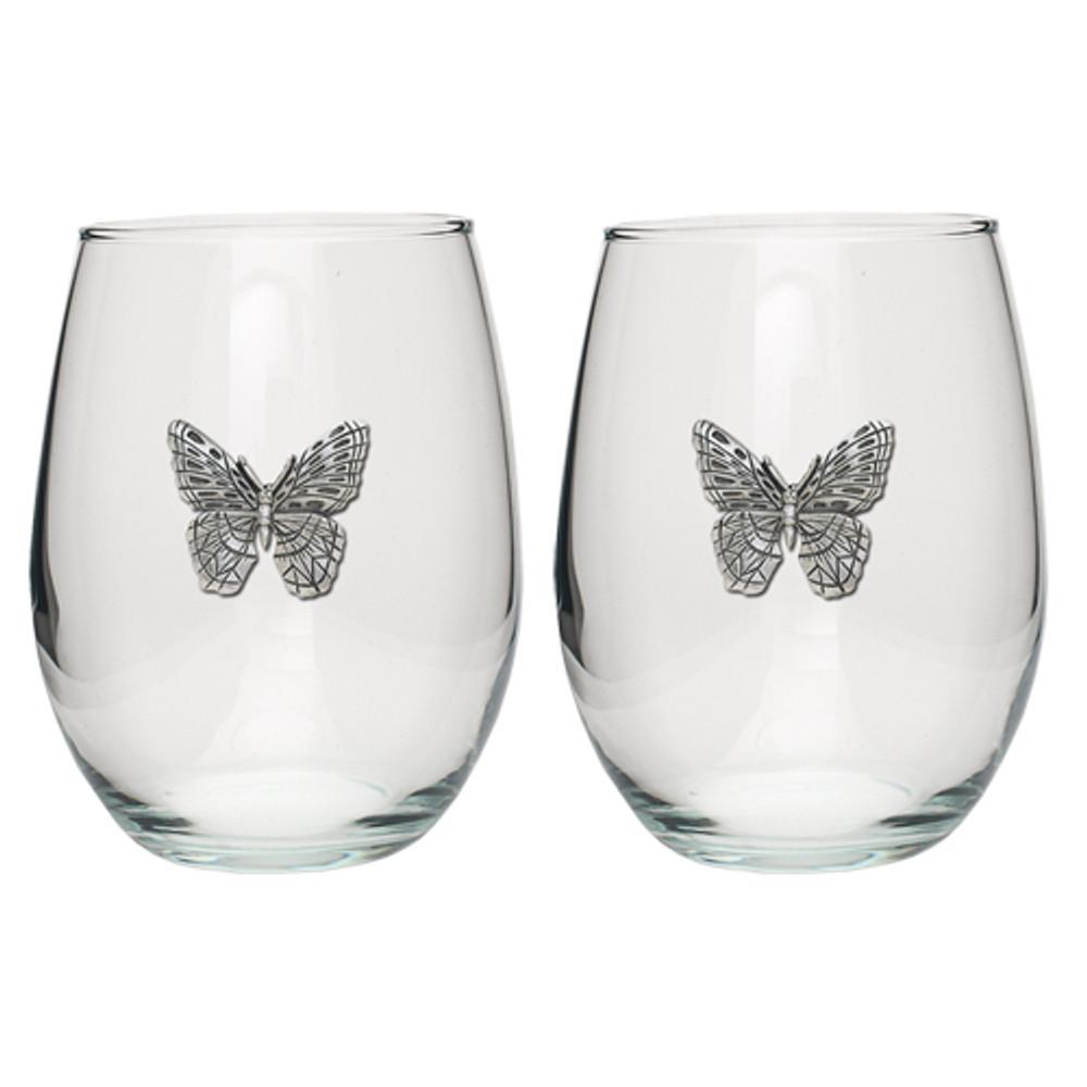 Butterfly Stemless Goblet Set of 2   Heritage Pewter   HPISGB3090