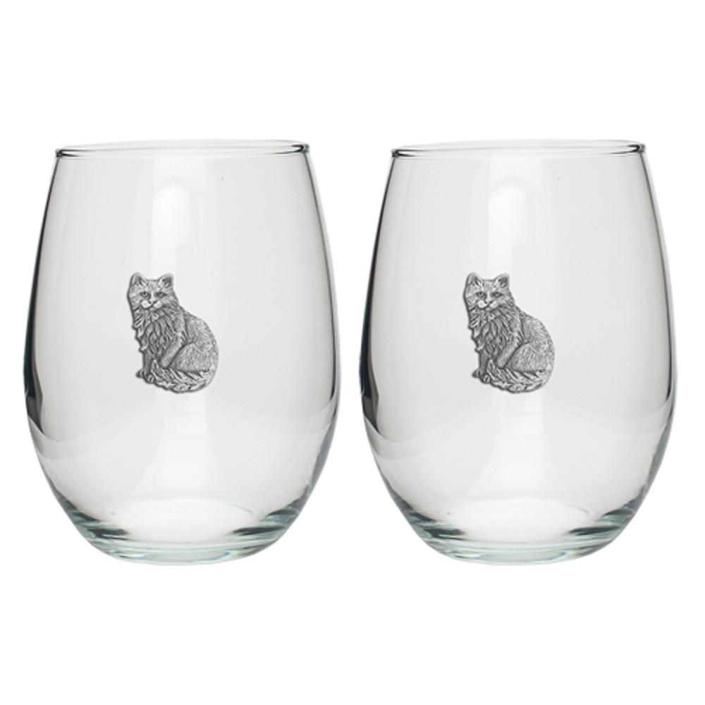Cat Stemless Goblet Set of 2 | Heritage Pewter | HPISGB3107