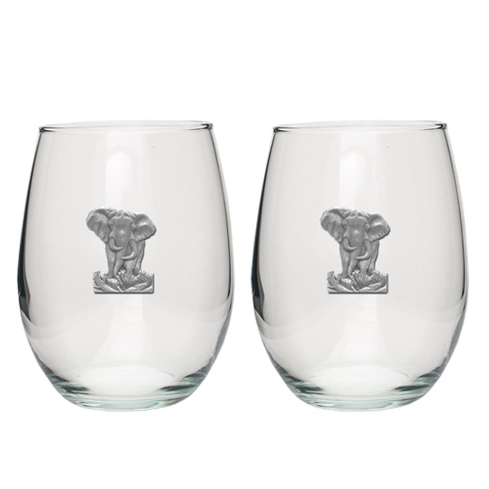 Elephant Stemless Goblet Set of 2 | Heritage Pewter | HPISGB706