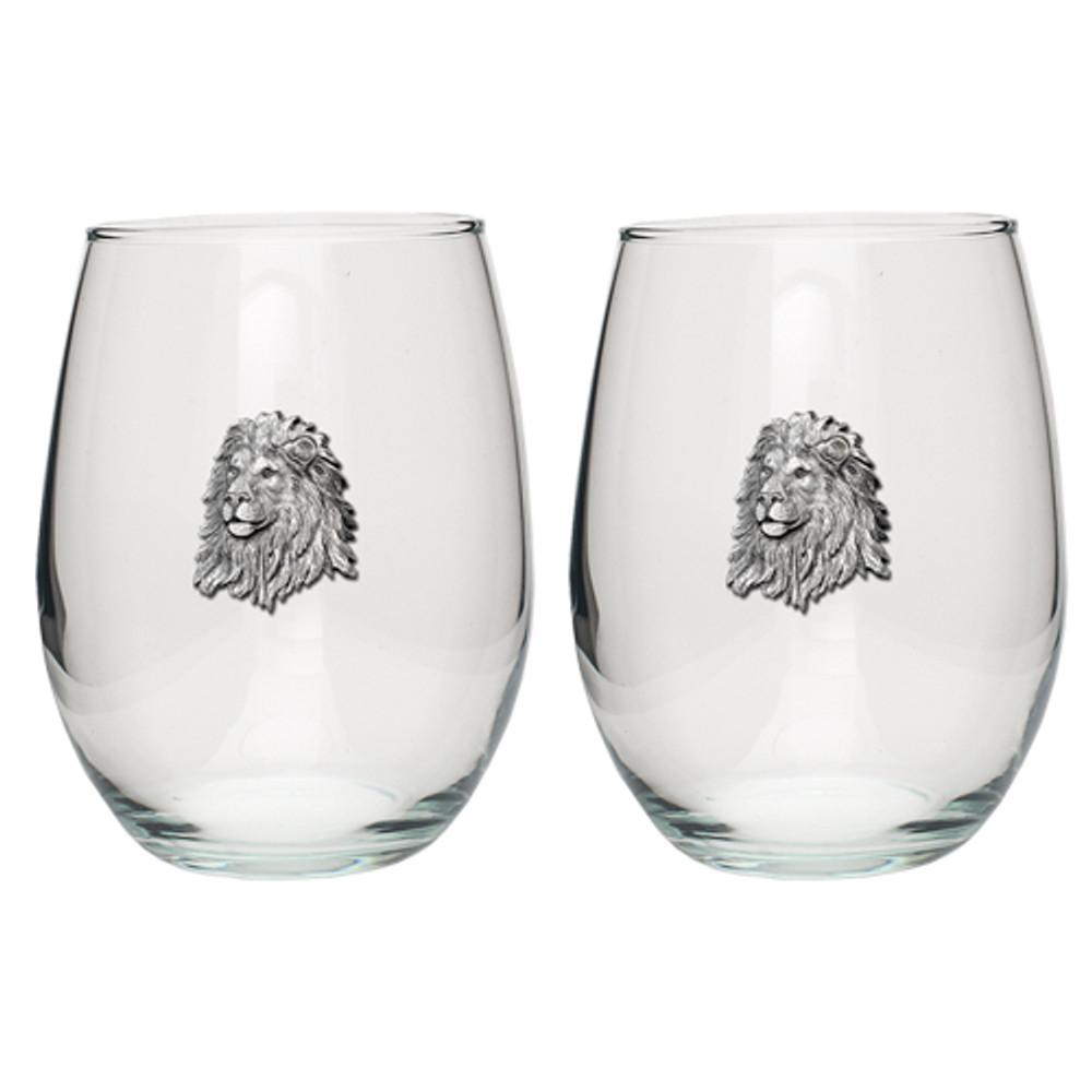 Lion Stemless Goblet Set of 2 | Heritage Pewter | HPISGB738