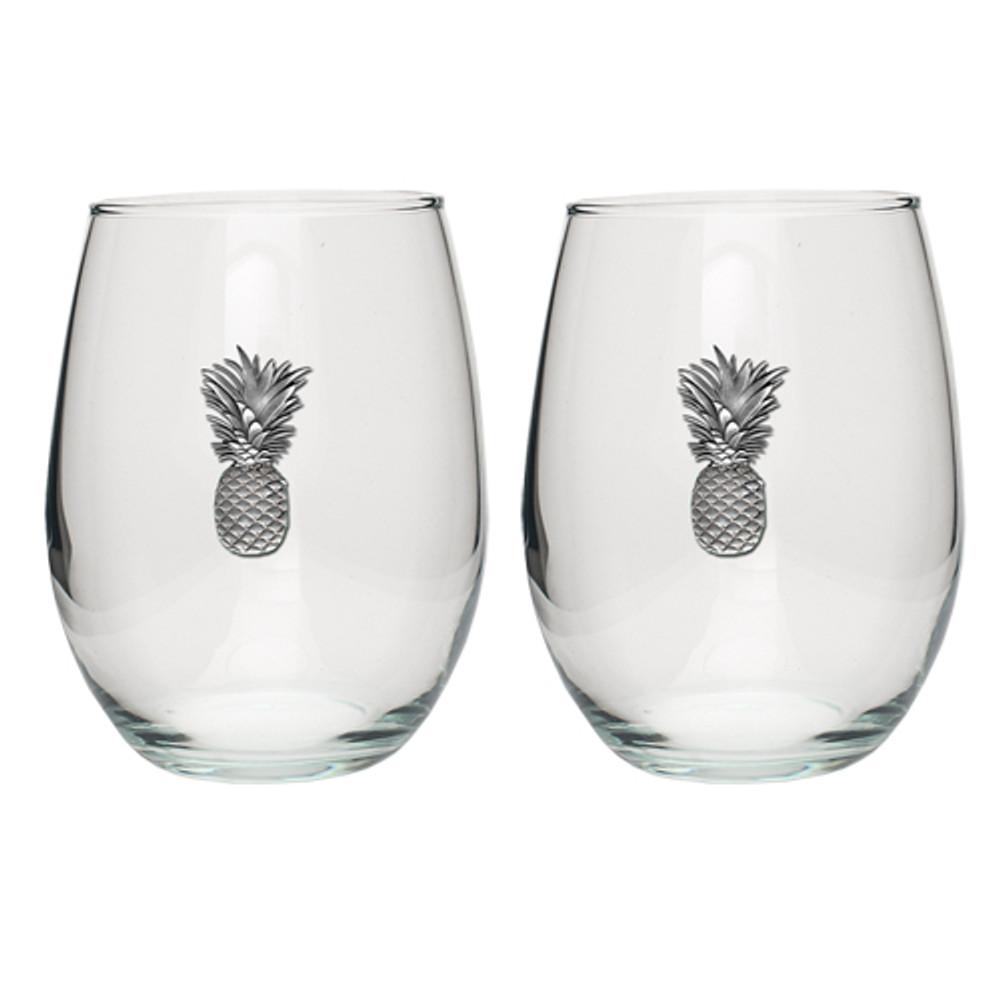 Pineapple Stemless Goblet Set of 2 | Heritage Pewter | HPISGB3141