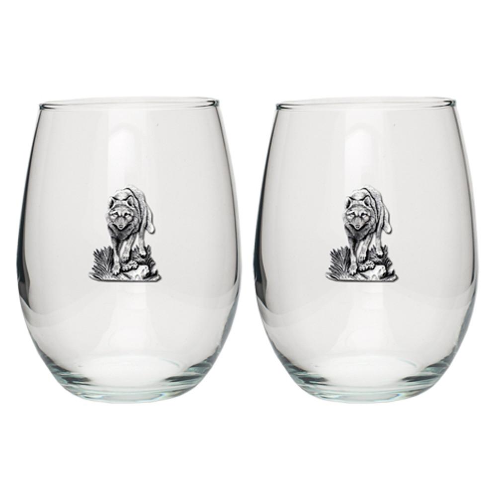 Wolf Stemless Goblet Set of 2 | Heritage Pewter | HPISGB702
