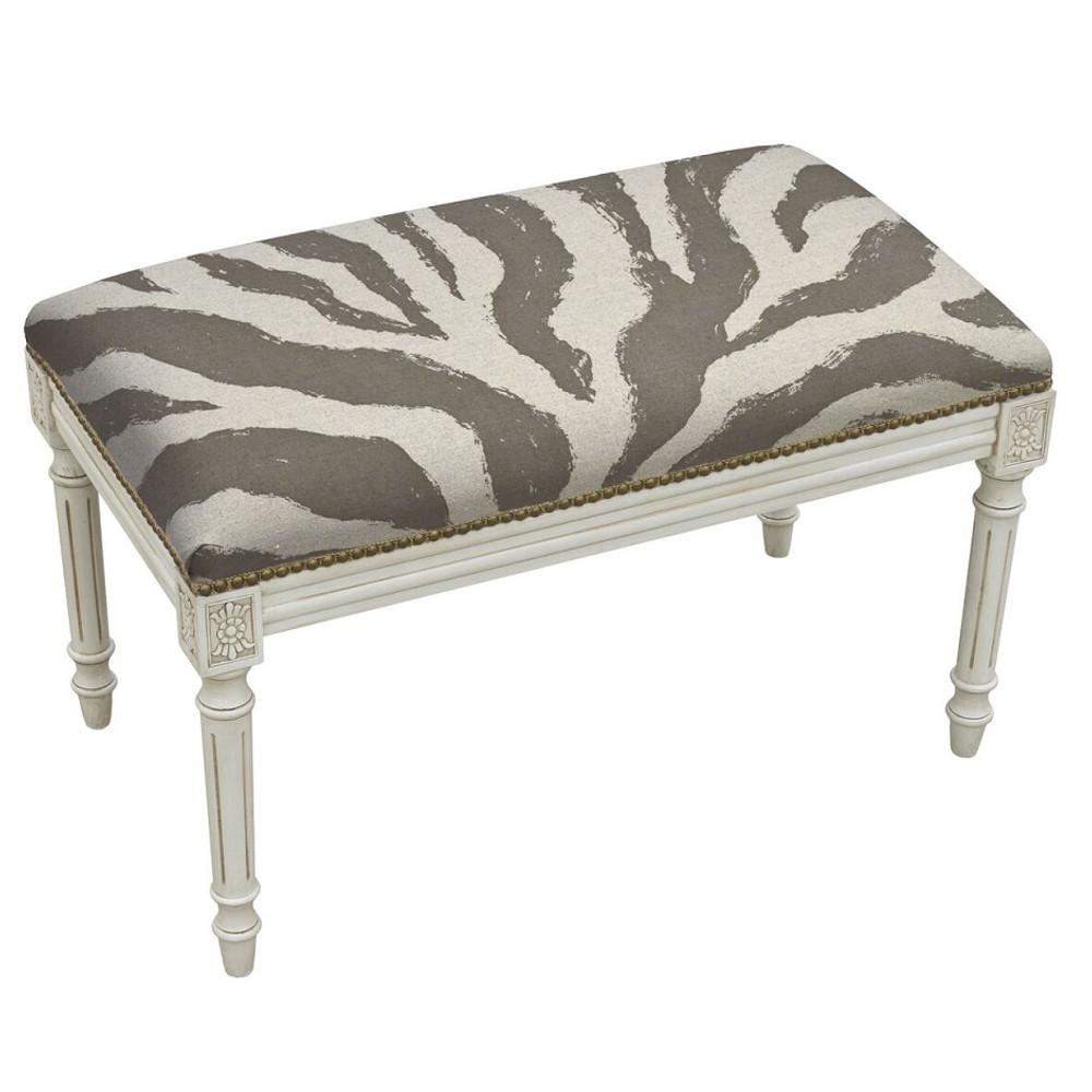 Zebra Print Bench | Upholstered Zebra Bench | CS009WBC-GY