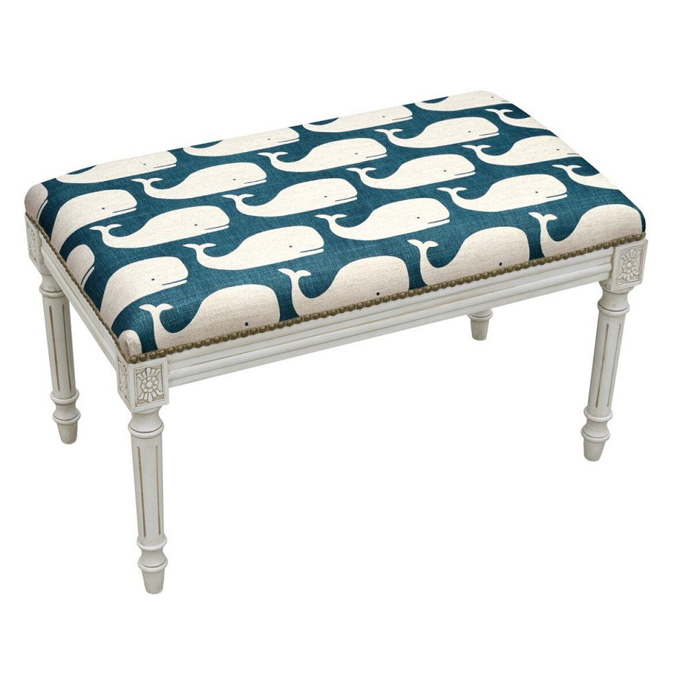 Whale Print Bench | Upholstered Whale Bench | CS103WBC-NY