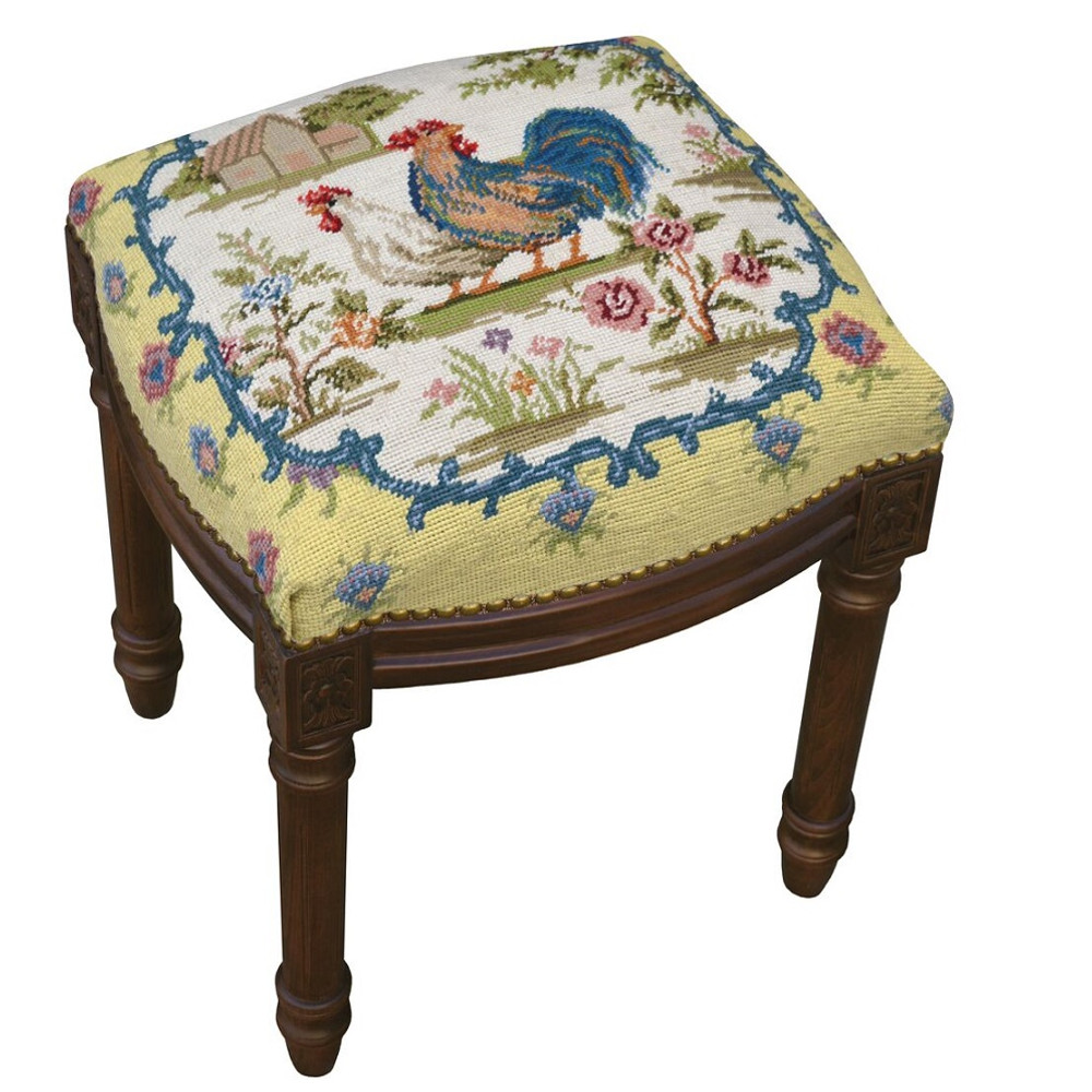 Country Rooster Needlepoint Vanity Stool | Rooster Vanity Stool | C233FS