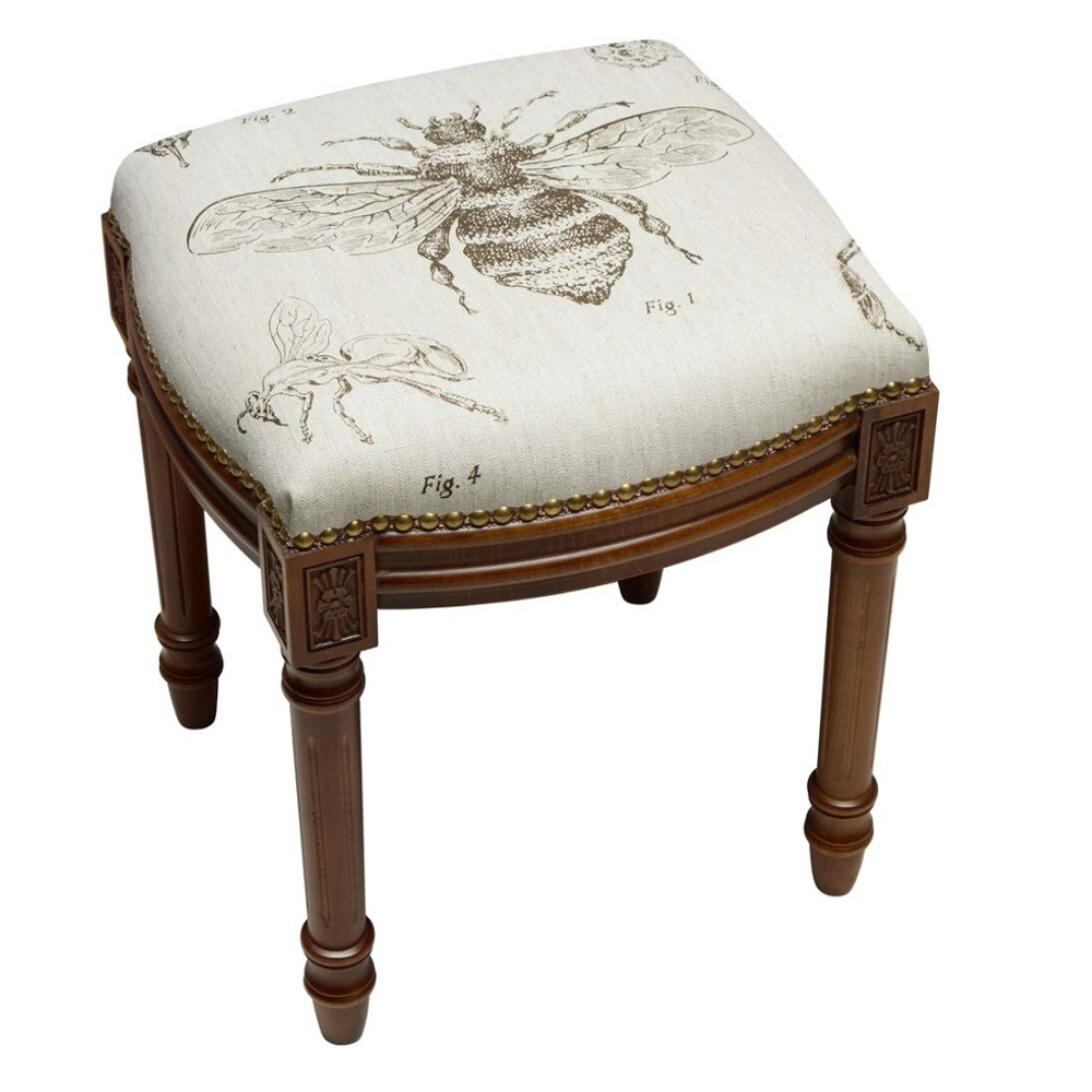 Bee Upholstered Vanity Stool | Bee Vanity Stool | CS016FS-GY