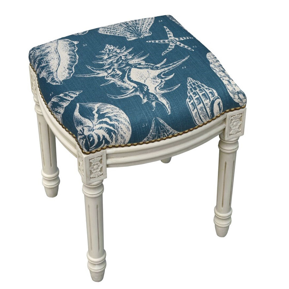Sea Shell Upholstered Vanity Stool | Shell Vanity Stool | CS020WFS-NY