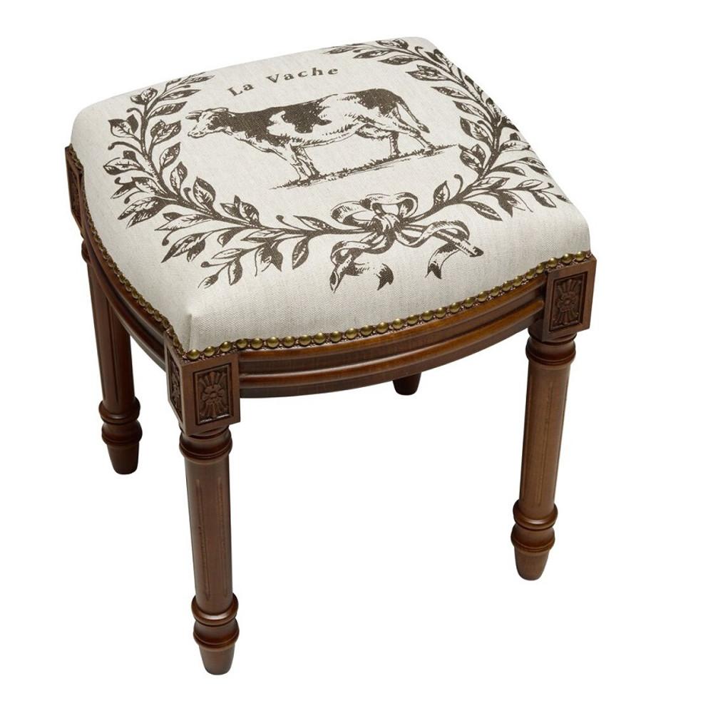 Cow Upholstered Vanity Stool   Cow Vanity Stool   CS040FS-GY