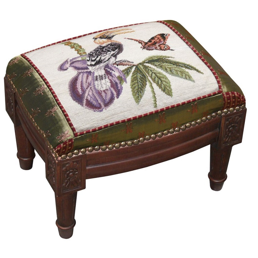 Bird and Butterfly Needlepoint Footstool | Butterfly Bird Footstool | C646FSS