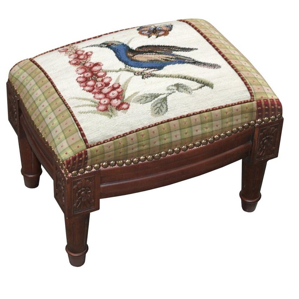 Blue Bird Butterfly Needlepoint Footstool | Bird Footstool | C647FSS