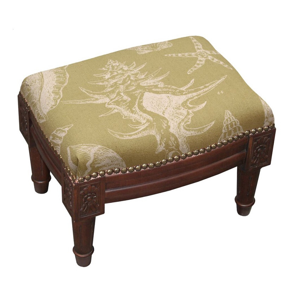 Sea Shell Upholstered Footstool   Shell Footstool   CNK020FSS-BE