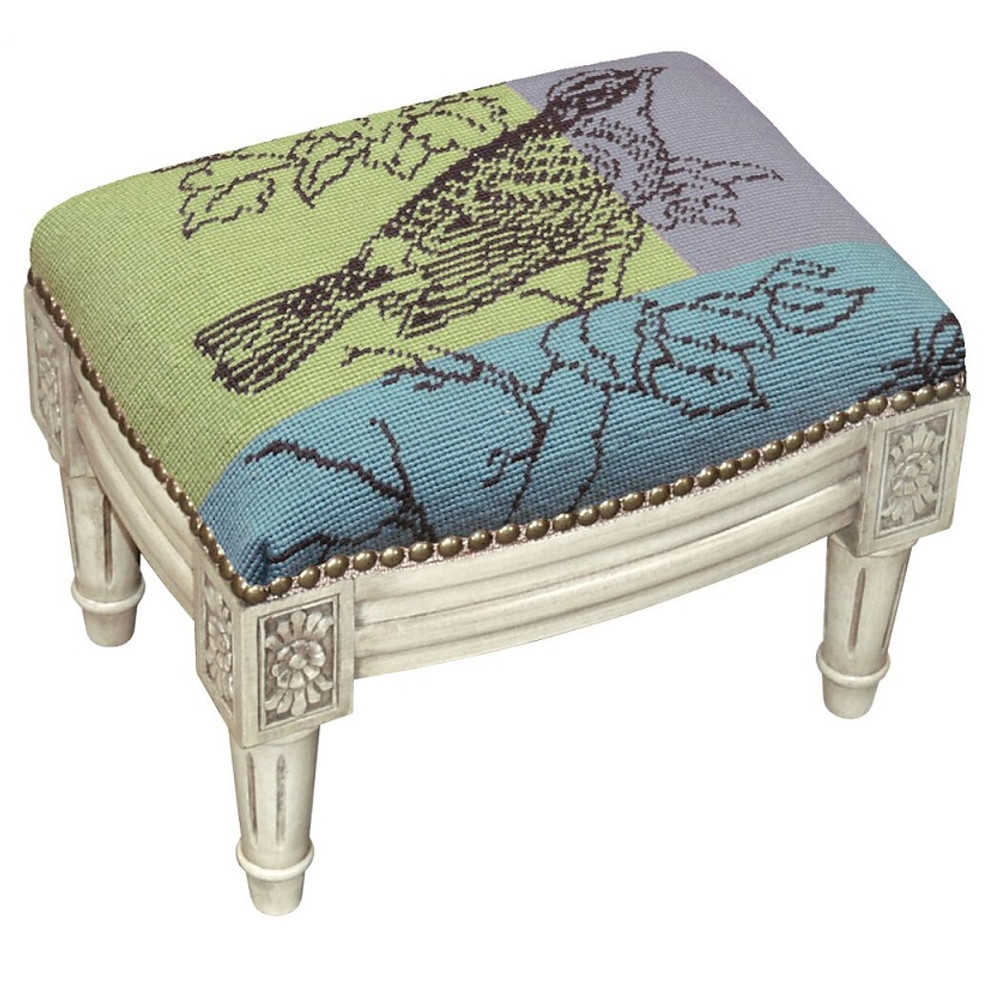 Bird Drawing Needlepoint Footstool | Bird Footstool | KR102WFSS