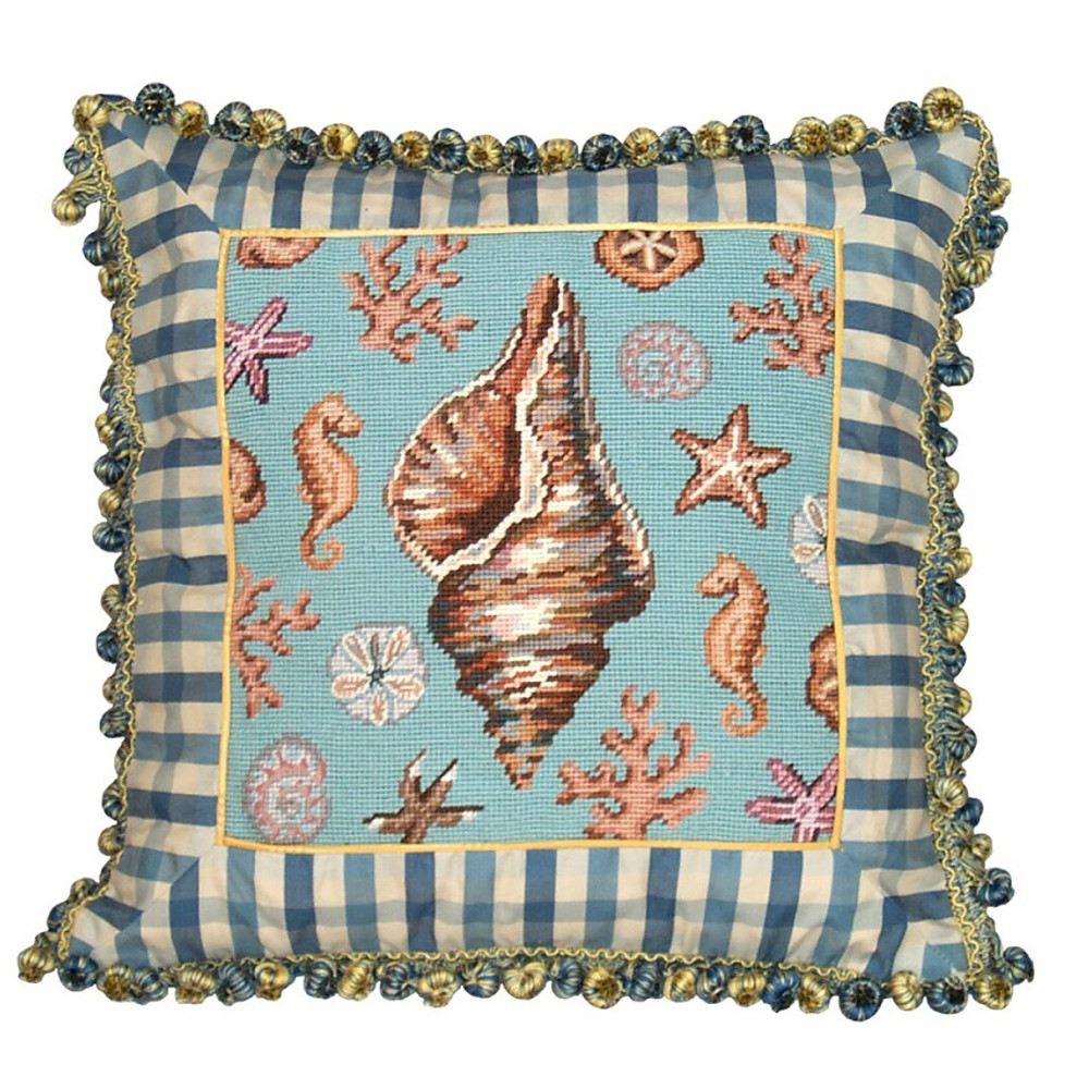 Conch Shell Needlepoint Pillow | Shell Needlepoint Pillow | C701.18x18