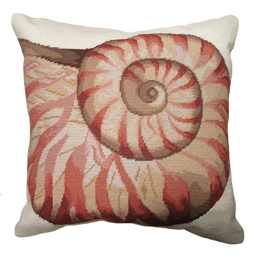 Shell Spiral Needlepoint Pillow | Shell Needlepoint Pillow | C817.18x18