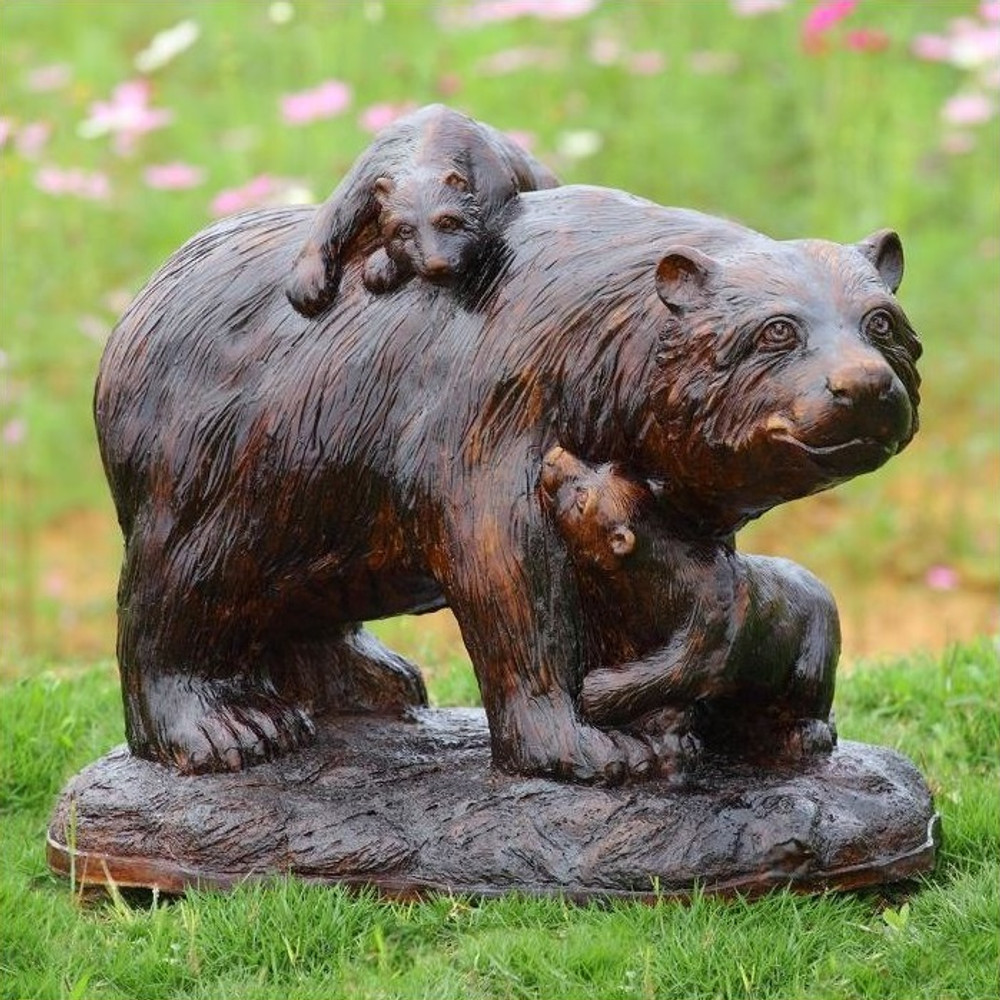 Bear and Cubs Playtime Garden Sculpture | 50869 | SPI Home -2