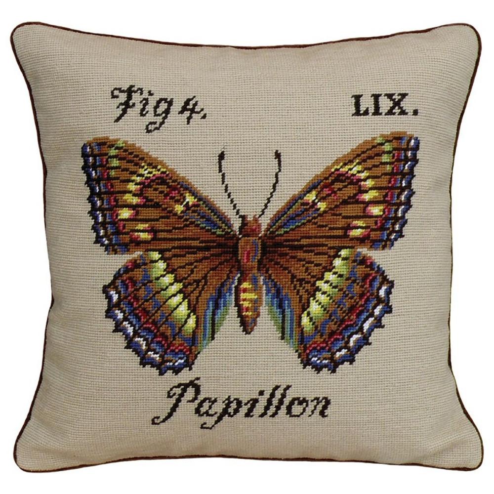 Butterfly Papillon Needlepoint Pillow   Butterfly Needlepoint Pillow   KR101.18x18