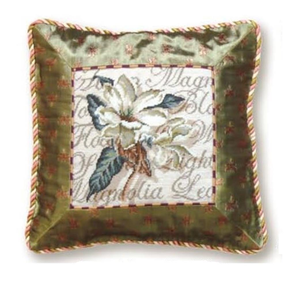 Magnolia Flower Needlepoint Pillow | Magnolia Needlepoint Pillow | C939.14x14