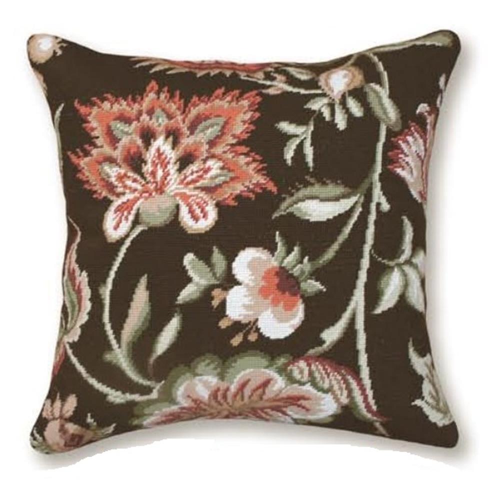 Jacobean Floral Needlepoint Pillow | Flower Needlepoint Pillow | C909.20x20