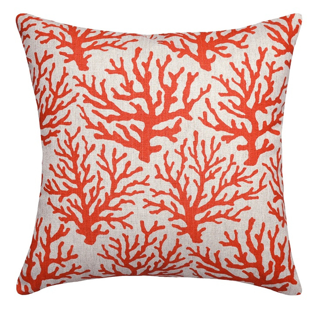 Coral Print Upholstered Pillow | Coral Pillow | CS101P-CO.20x20