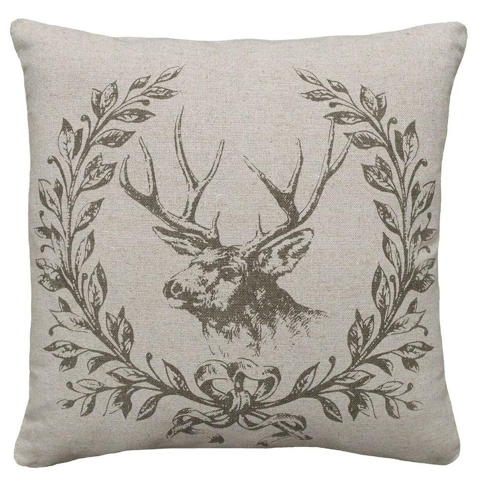 Elk Wreath Upholstered Pillow | Elk Pillow | CS038P-GY.18x18
