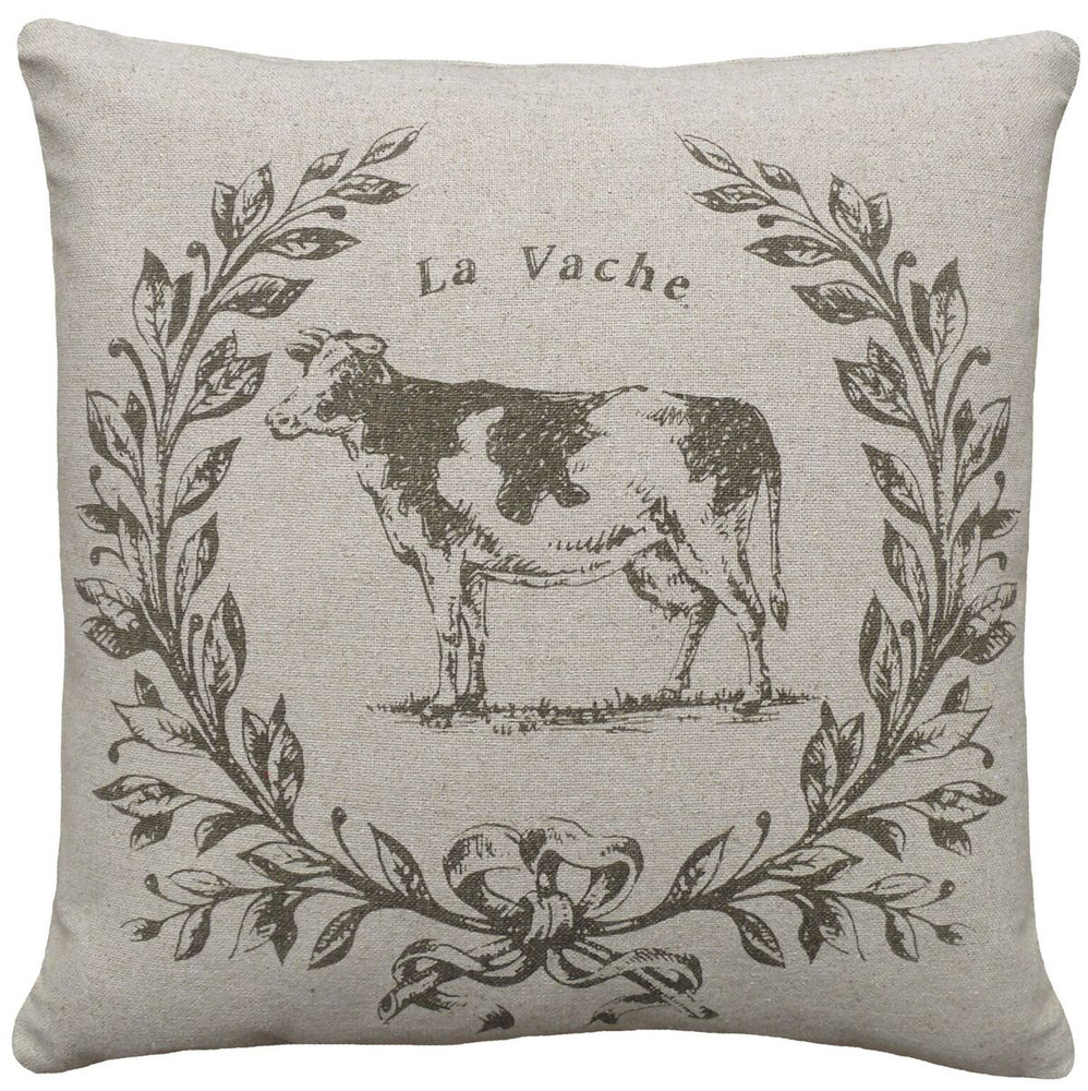 Cow Upholstered Pillow | Cow Pillow | CS040P-GY.18x18