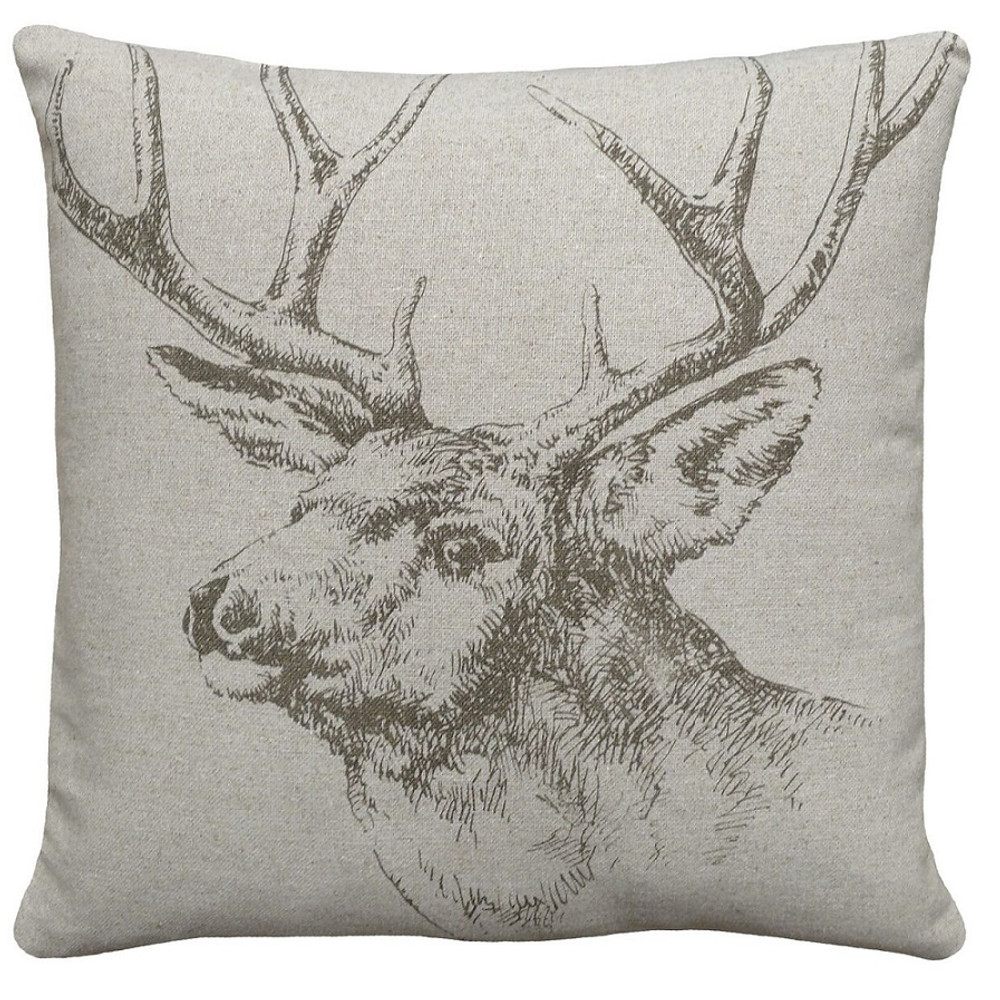 Elk Upholstered Pillow | Elk Pillow | CS044P-GY.18x18