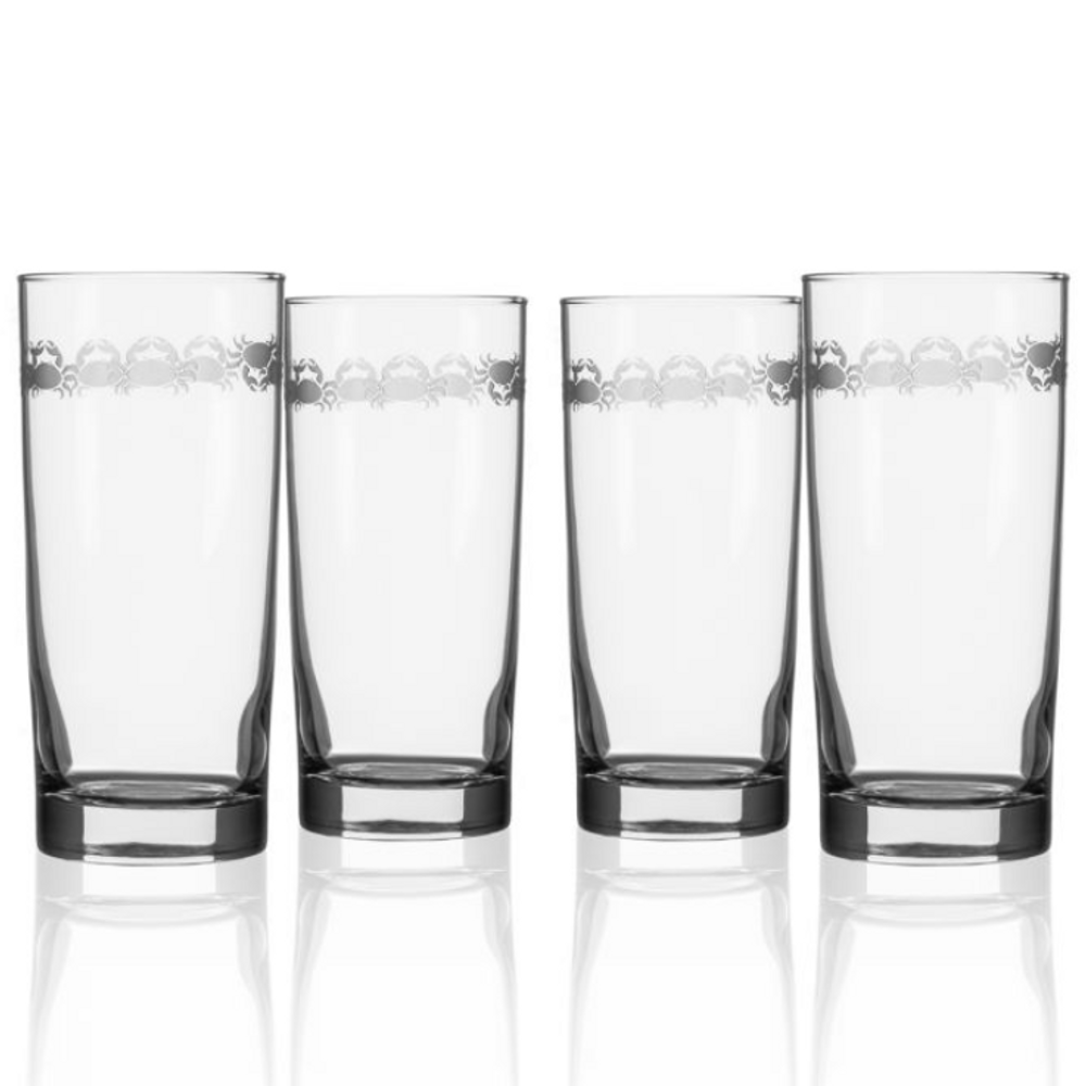 """Crab Cooler Glass Set of 4 """"Cast of Crabs"""" 