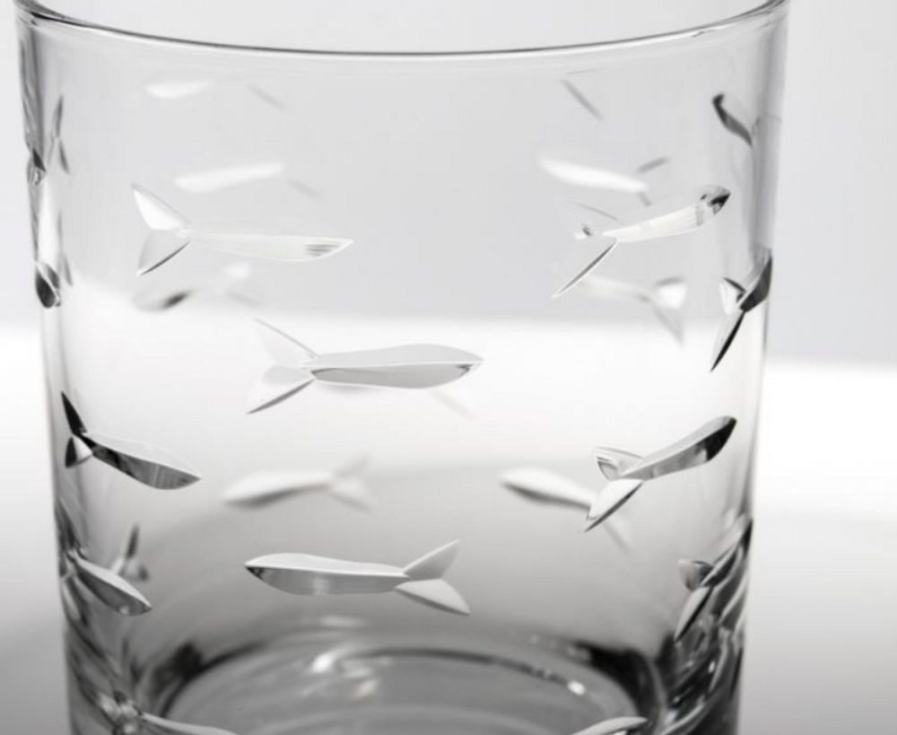 Fish Double Old Fashioned Drink Glass Set of 4 | Rolf Glass | 600000