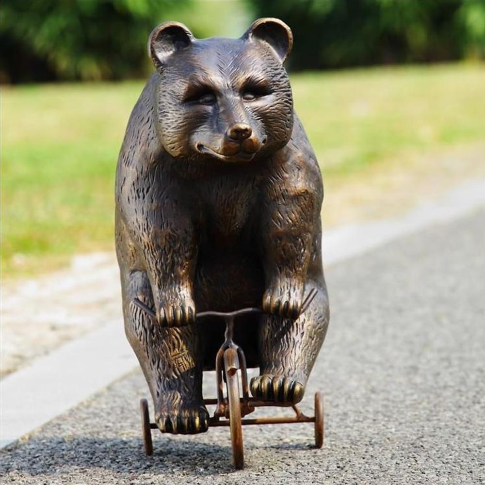 Bear Riding Trike Sculpture | 33638 | SPI Home