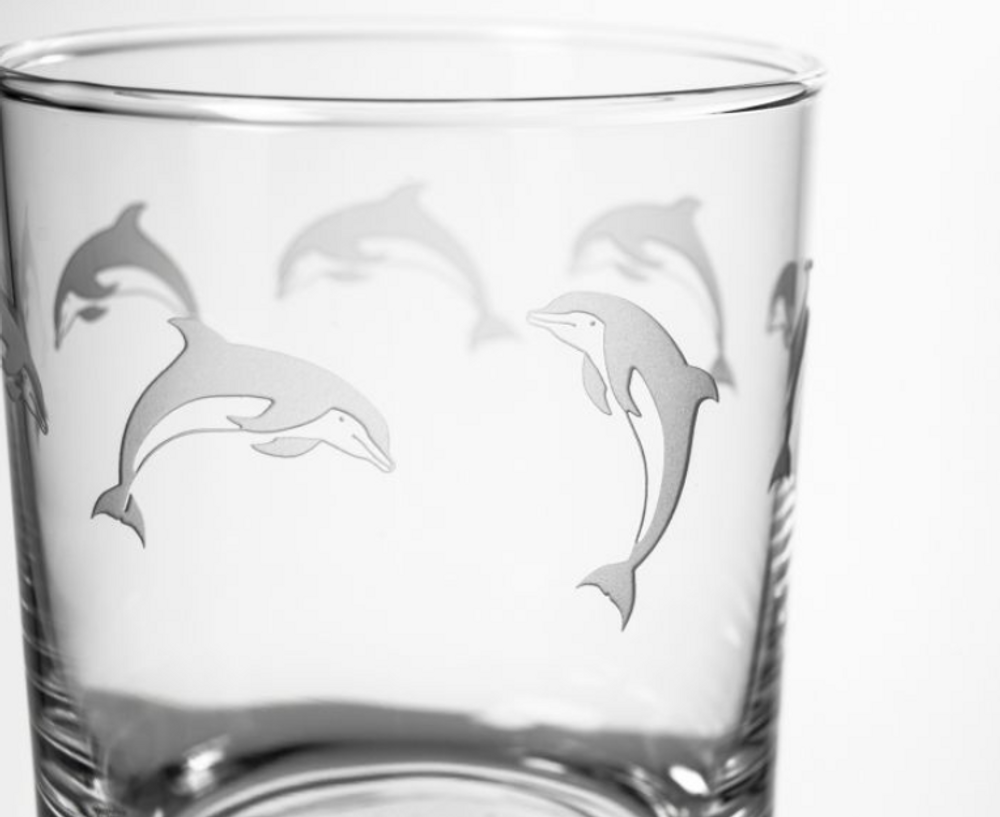 Dolphin Double Old Fashioned Drink Glass Set of 4 | Rolf Glass | 340005