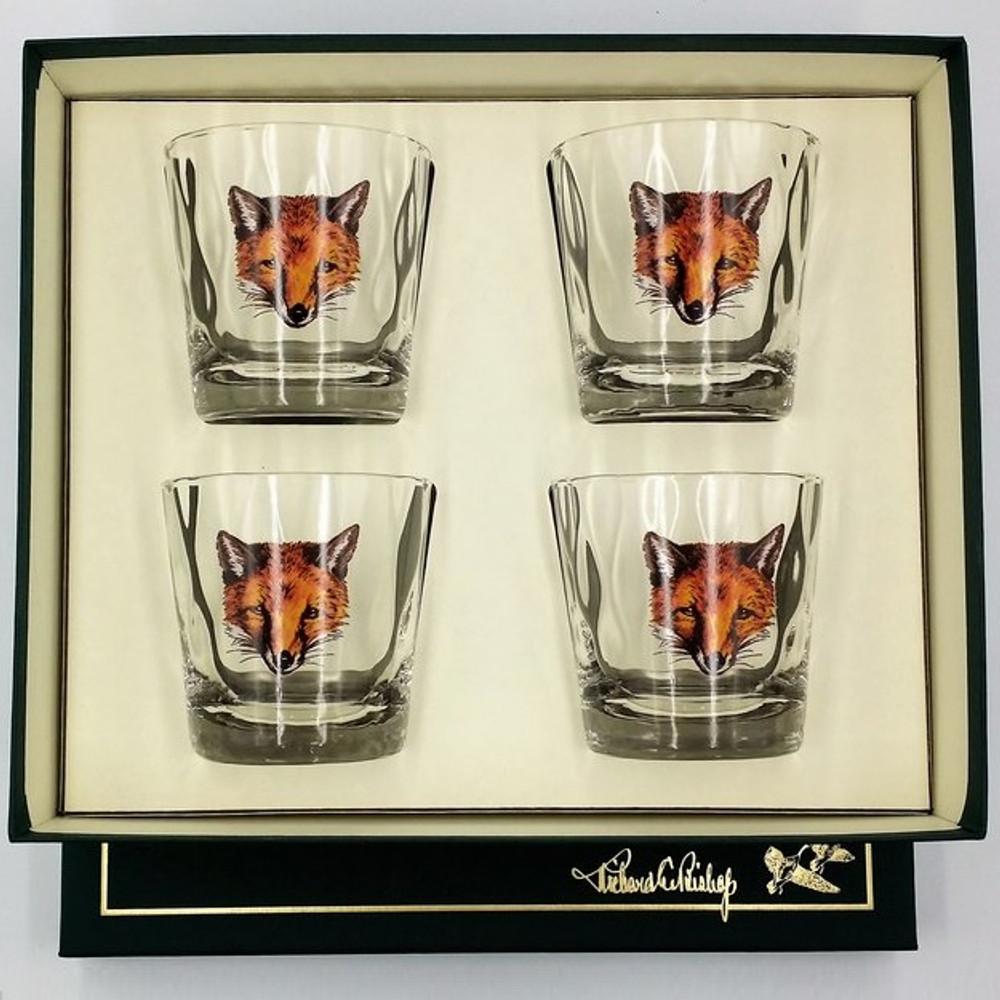 "Fox Optic Double Old Fashioned Glass Set   ""Fox Mask""   Richard Bishop   3026FOX"