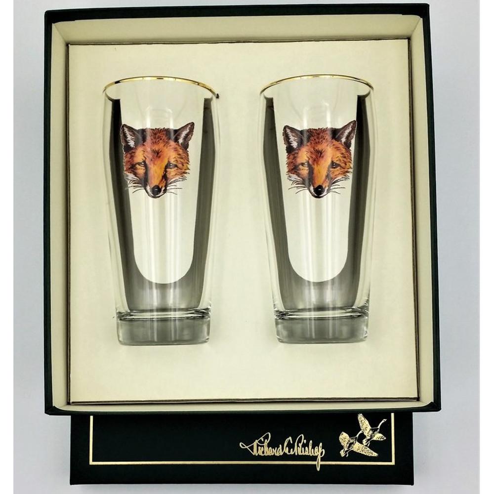 "Fox Beer Glass Set   ""Fox Mask""   Richard Bishop   2043FOX"
